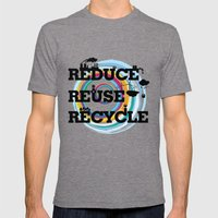 Reduce Reuse Recycle Mens Fitted Tee Tri-Grey SMALL