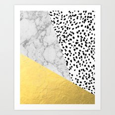 Marble Gold Dots - modern hipster trendy shiny gold foil cell phone case iphone dorm college Art Print