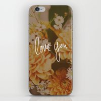Love You x Orange Floral iPhone & iPod Skin