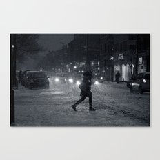 One Snowy Night in Montreal Canvas Print