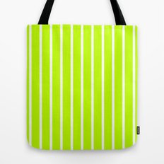 Vertical Lines (White/Lime) Tote Bag