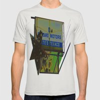 Pete's Texaco Mens Fitted Tee Silver SMALL