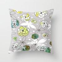 Grey Floral Throw Pillow