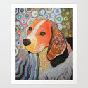 Rocky ... Abstract dog art, Beagle Art Print