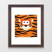 Minimal Tiger Framed Art Print