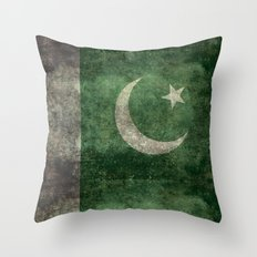 The National Flag of Pakistan - Vintage Version Throw Pillow
