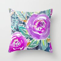 Gardens of Bolinas Purple Floral Throw Pillow