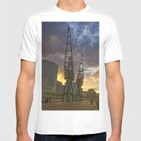 Docklands London Dusk Mens Fitted Tee White SMALL