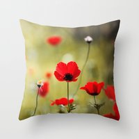 Wild Anemones Throw Pillow