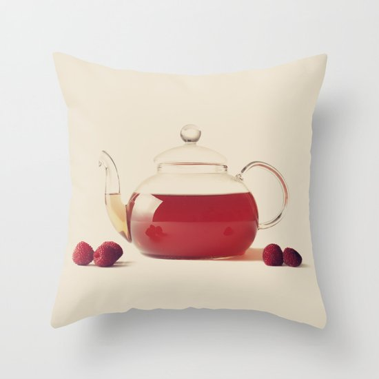 Raspberry Tea (Retro and Vintage Still Life Photography) Throw Pillow