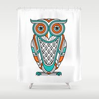 Art Deco Owl Shower Curtain