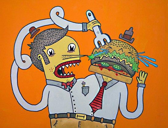 Siamese Burger Person Art Print