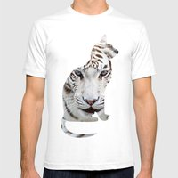 Big And Small Cat. Mens Fitted Tee White SMALL