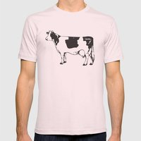 Poor Cow. Mens Fitted Tee Light Pink SMALL
