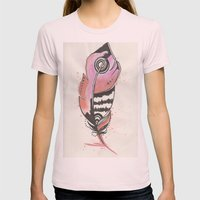 Pink And Orange Feather Womens Fitted Tee Light Pink SMALL