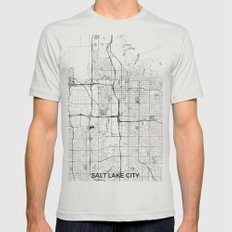 Salt Lake City Map Gray Mens Fitted Tee Silver SMALL
