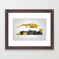 Outline Series N.º5, Ayrton Senna, Lotus 99T-Honda, 1987 Framed Art Print