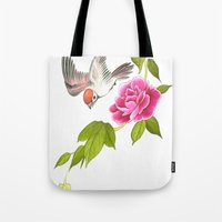 sparrow and peony Tote Bag