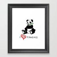 I Love Pandas Design Framed Art Print