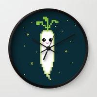 Happy Pixel Daikon Wall Clock