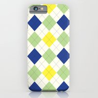 Argyle Plaid in Blue, Green and Yellow iPhone 6 Slim Case