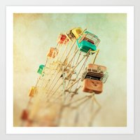 Head Over Heels carnival ferris wheel circus summer Art Print