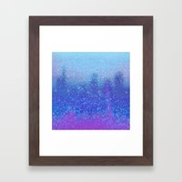 snowing on moon Framed Art Print