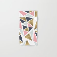 Modern geometrical pink navy blue gold triangles pattern Hand & Bath Towel