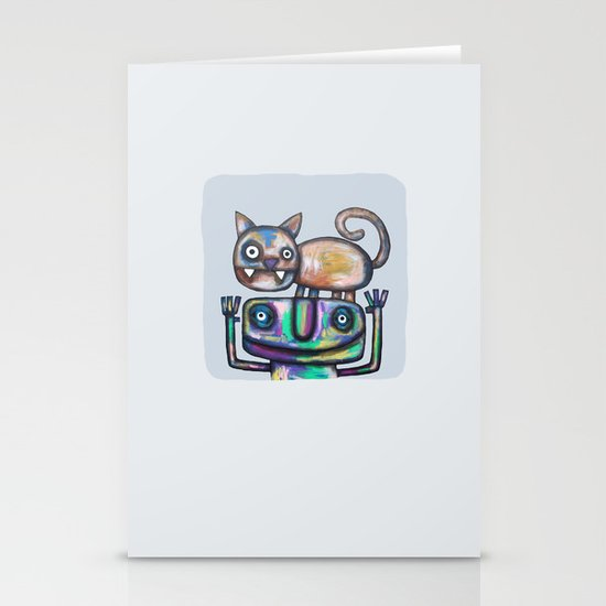 Juggler with Cat Stationery Card