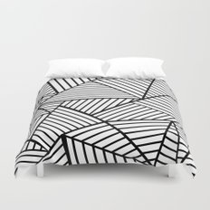 Abstraction Lines Close Up Black and White Duvet Cover