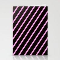Pink & Black Stripes Stationery Cards