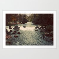 Rocky River Waterfall Englischer Garten Germany Color Photo Isar River Art Print