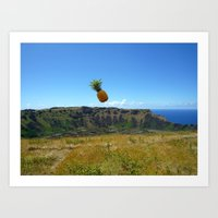Flying Pineapple Art Print
