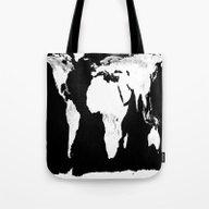 World Map Black & White Tote Bag