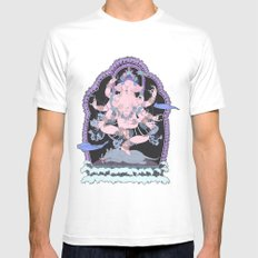 Long Lines Block the Path to Enlightenment SMALL White Mens Fitted Tee