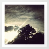 Sun Setting Threw The Tr… Art Print