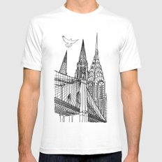 NYC Silhouettes White Mens Fitted Tee SMALL