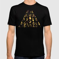 Aztec Pattern Papercut Mens Fitted Tee Black SMALL
