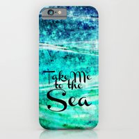 iPhone & iPod Case featuring TAKE ME TO THE SEA - Typography Teal Turquoise Blue Green Underwater Adventure Ocean Waves Bubbles by EbiEmporium