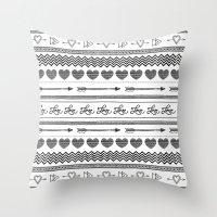 Love tribal pattern Throw Pillow