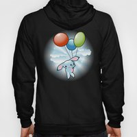 Cute Little Blue Bunny Flying With Balloons Hoody