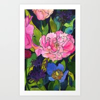 French Lavender & Roses Art Print