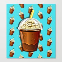 Iced Coffee To Go Pattern Canvas Print
