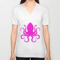 Pink Octopus Unisex V-Neck
