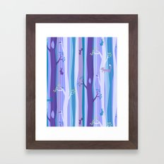 Purple Woodland Stripe Framed Art Print