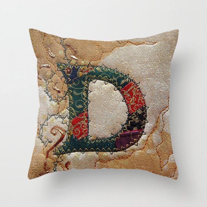 Decorative Initial Pillows : Decorative initial letter D Throw Pillow by Bozena Wojtaszek Society6