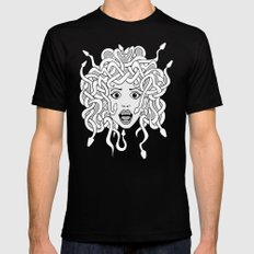 foolish medusa (b&w) Black Mens Fitted Tee SMALL