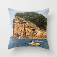 Cliff diving and kayaks Throw Pillow
