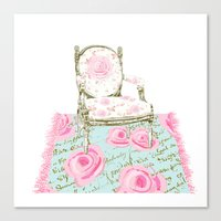 Shabby Chic Rug and French Chair Canvas Print