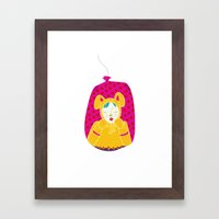 wabbit in a bag - neon version Framed Art Print